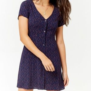 Navy and Pink Polka Dot Button Dress